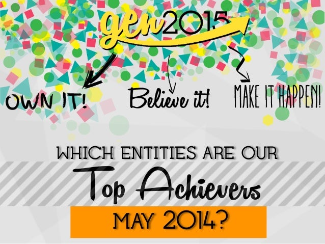 WHICH ENTITIES ARE OUR! Top Achievers! ! ! ! !MAY 2014?