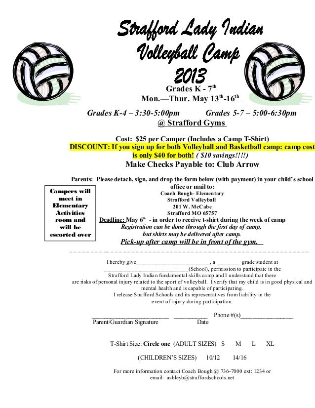 permission slip forms for basketball camps