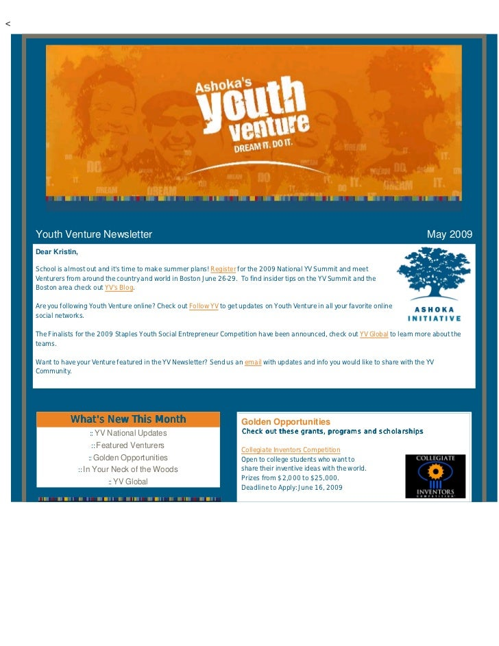 <         Youth Venture Newsletter                                                                                        ...