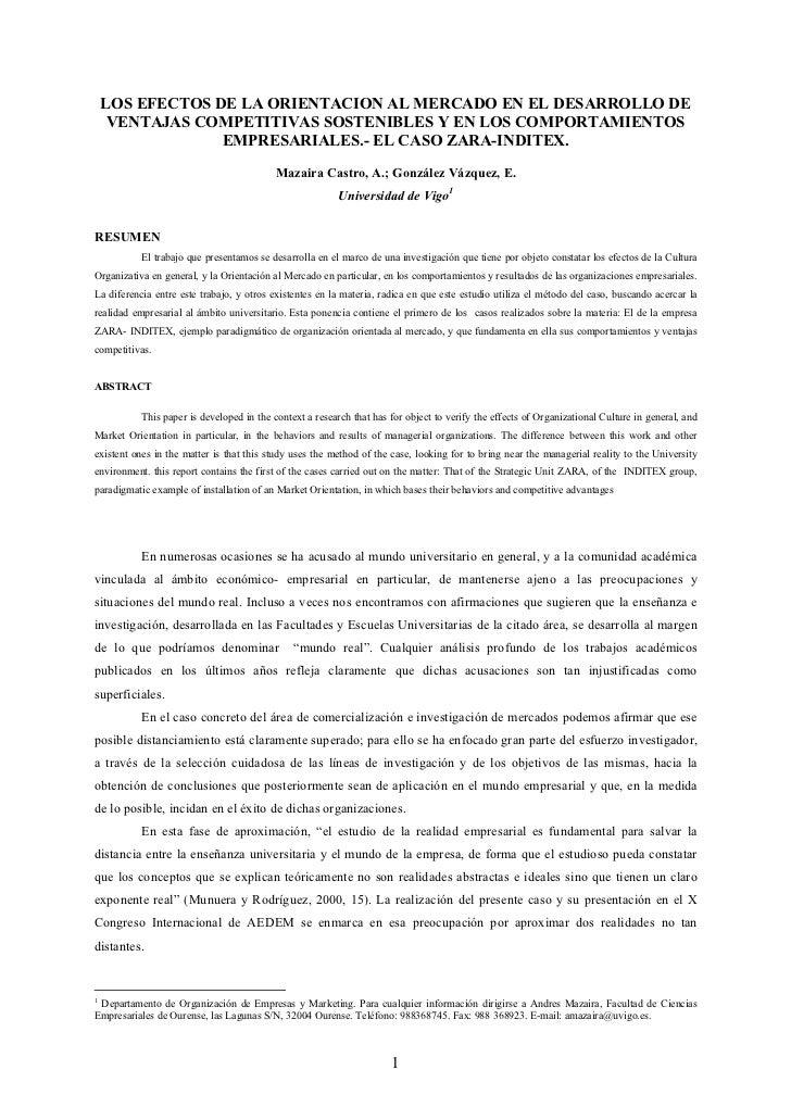 LOS EFECTOS DE LA ORIENTACION AL MERCADO EN EL DESARROLLO DE     VENTAJAS COMPETITIVAS SOSTENIBLES Y EN LOS COMPORTAMIENTO...