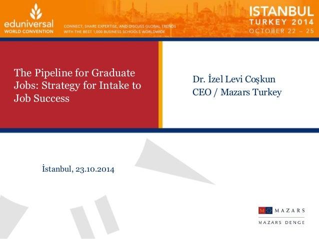 The Pipeline for Graduate  Jobs: Strategy for Intake to  Job Success  Dr. İzel Levi Coşkun  CEO / Mazars Turkey  İstanbul,...