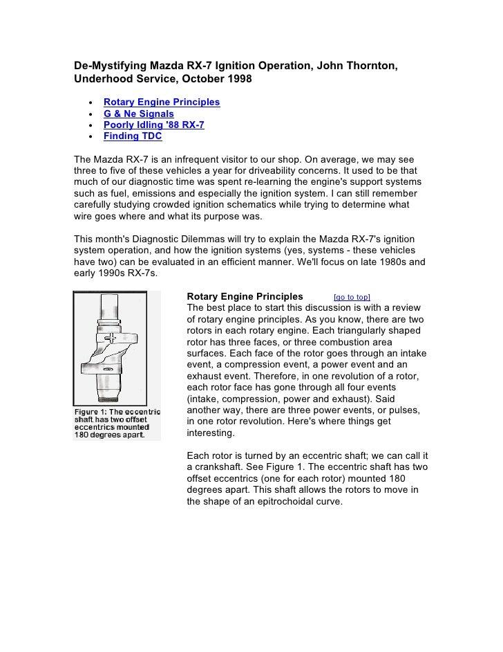 De-Mystifying Mazda RX-7 Ignition Operation, John Thornton, Underhood Service, October 1998     •   Rotary Engine Principl...