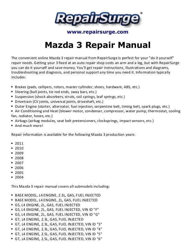 mazda 3 repair manual 2004 2011 rh slideshare net 2006 mazda 3 repair manual 2007 mazda 3 repair manual pdf