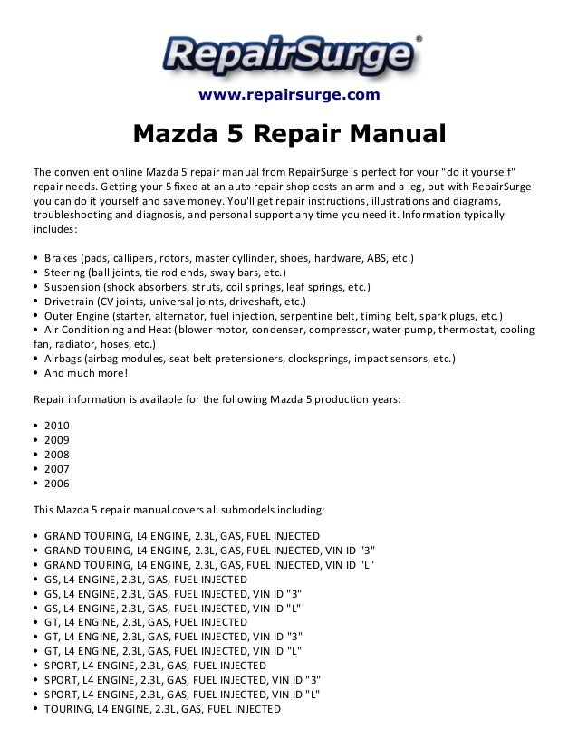 Mazda 5 Repair Manual 20062010rhslideshare: 2010 Mazda 5 Engine Diagram At Elf-jo.com