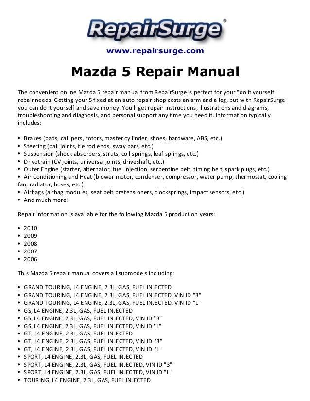 mazda 5 repair manual 2006 2010 rh slideshare net Mazda CX-5 Mazda 5 Speed Manual Transmission