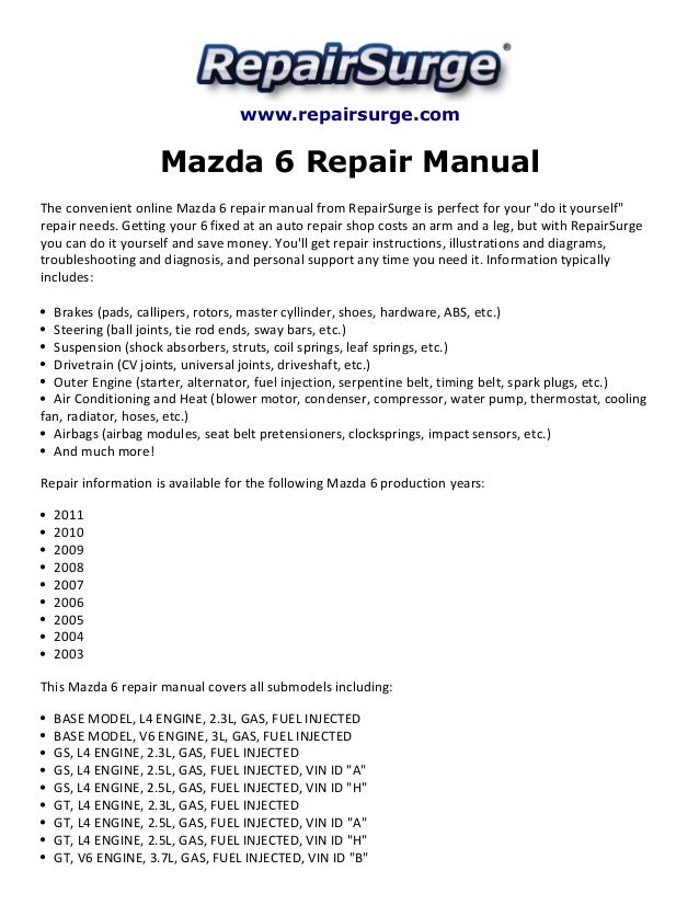 Mazda 6 Repair Manual 20032011rhslideshare: Mazda 6 2004 Alternator Wiring Diagram At Elf-jo.com
