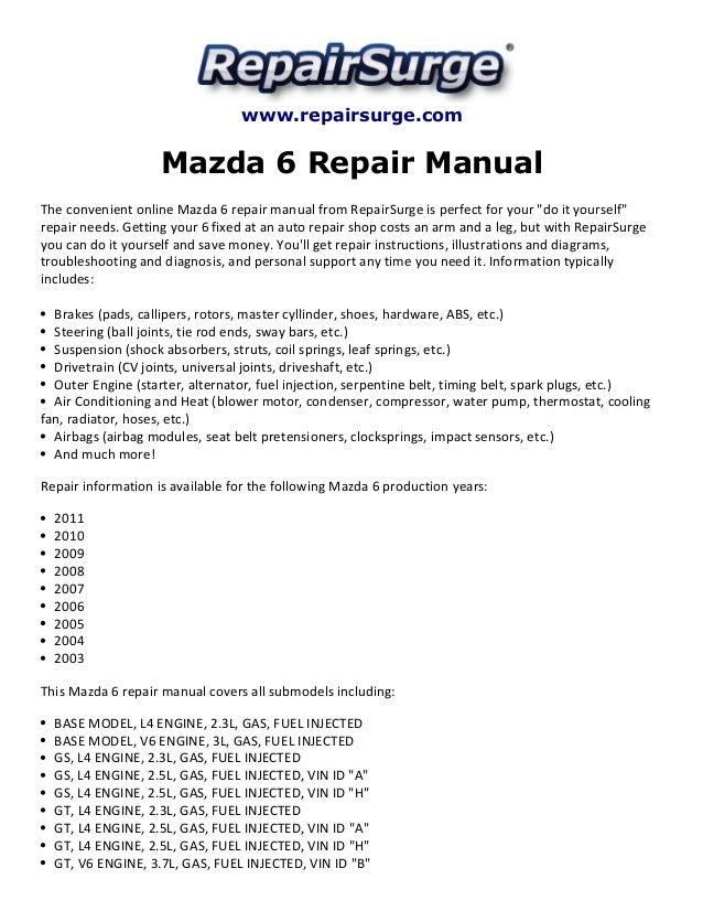 mazda 6 repair manual 2003 2011 rh slideshare net 2004 mazda 6 owners manual 2003 mazda 6 service manual