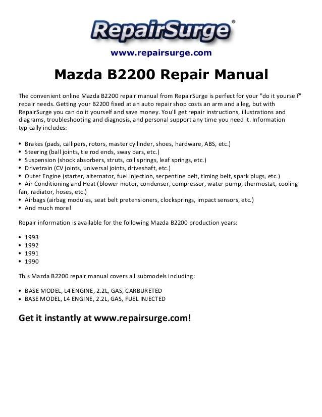 Repairsurge Mazda B2200 Repair Manual The Convenient Online: 91 Mazda B2200 Engine Diagram At Outingpk.com