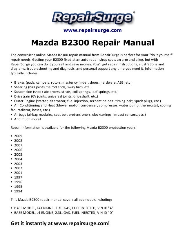 Mazda b4000 (1994 2009) car repair manuals | haynes manuals.