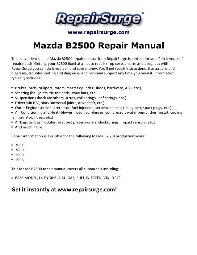 mazda b2500 repair manual 1998 2001 rh slideshare net 2000 mazda b2500 service manual 2001 Mazda B2500