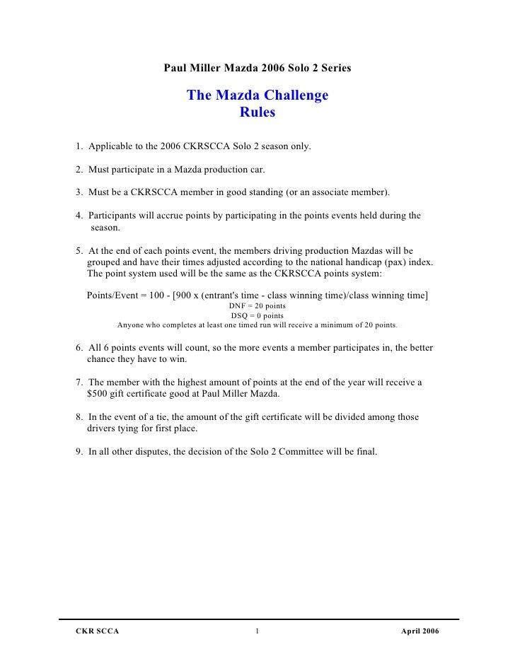 Paul Miller Mazda 2006 Solo 2 Series                               The Mazda Challenge                                    ...