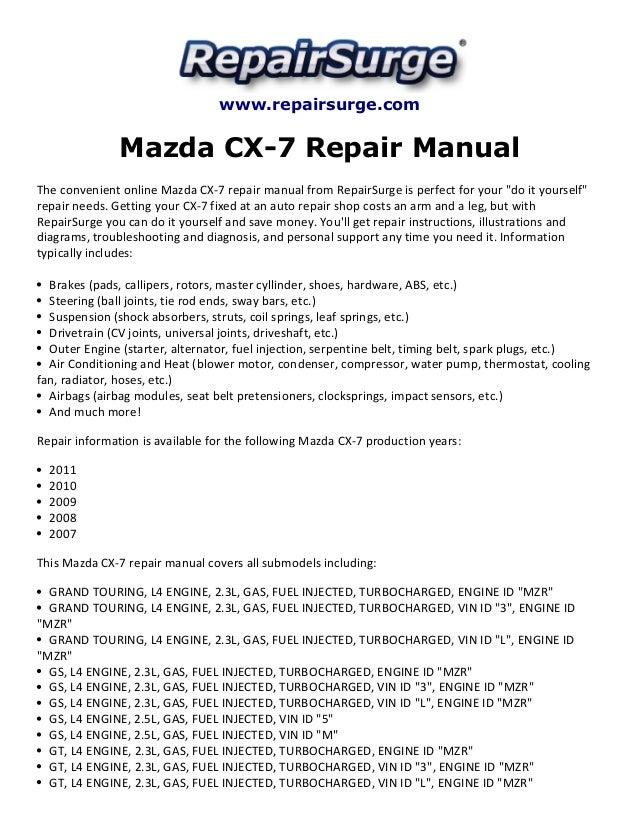 mazda cx 7 repair manual 2007 2011 rh slideshare net mazda cx 7 repair manual pdf mazda cx 7 parts manual