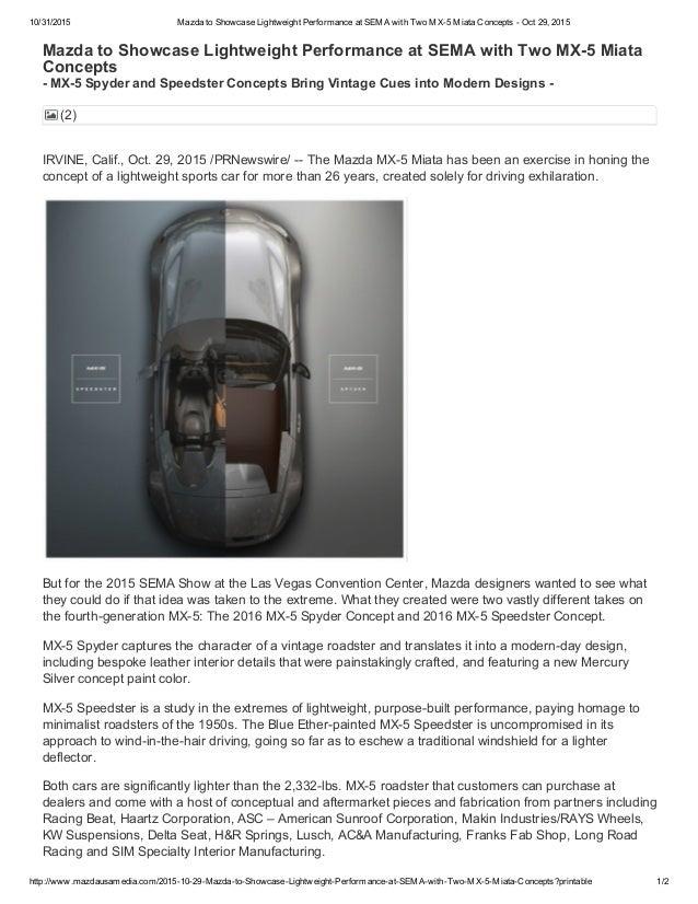 Mazda to showcase two mx 5 miata concepts at sema