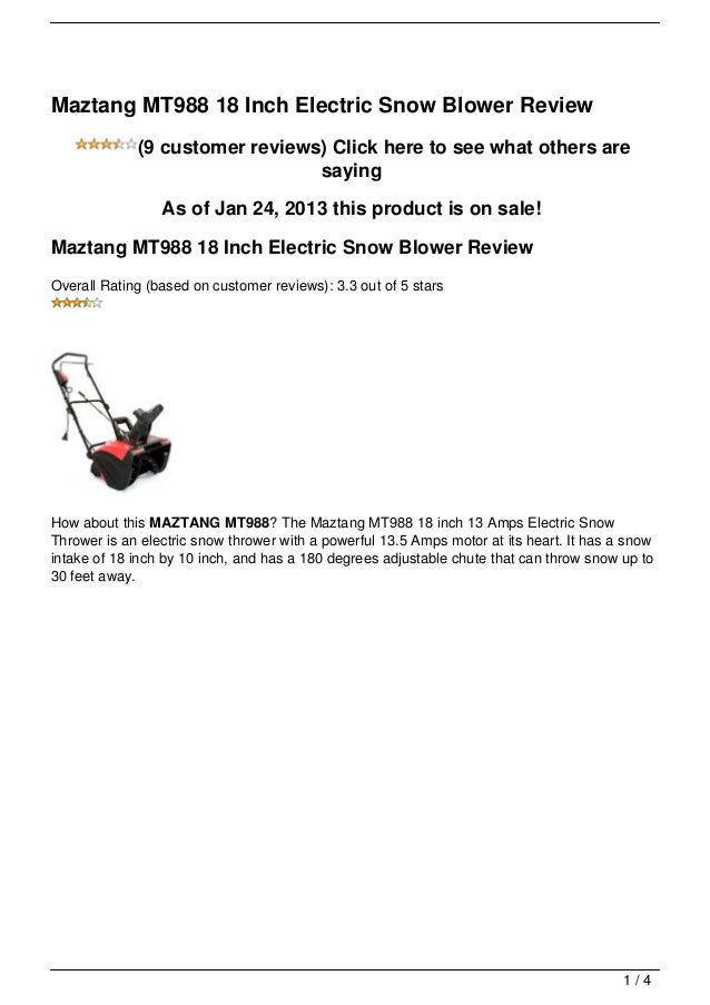 Maztang MT988 18 Inch Electric Snow Blower Review             (9 customer reviews) Click here to see what others are      ...