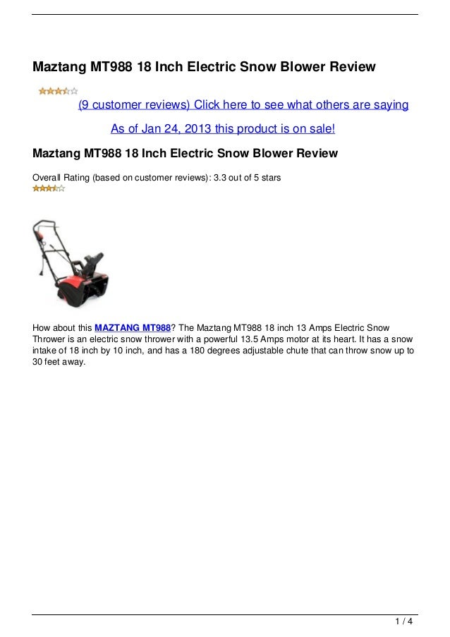 Maztang MT988 18 Inch Electric Snow Blower Review           (9 customer reviews) Click here to see what others are saying ...