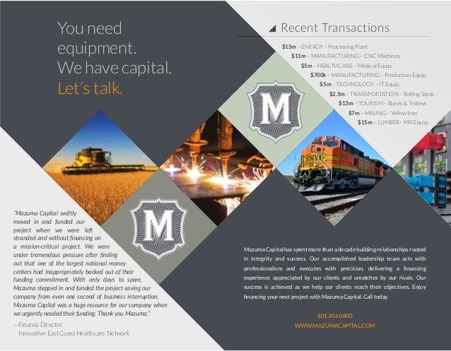 Mazuma Capital Direct Lender Equipment Finance