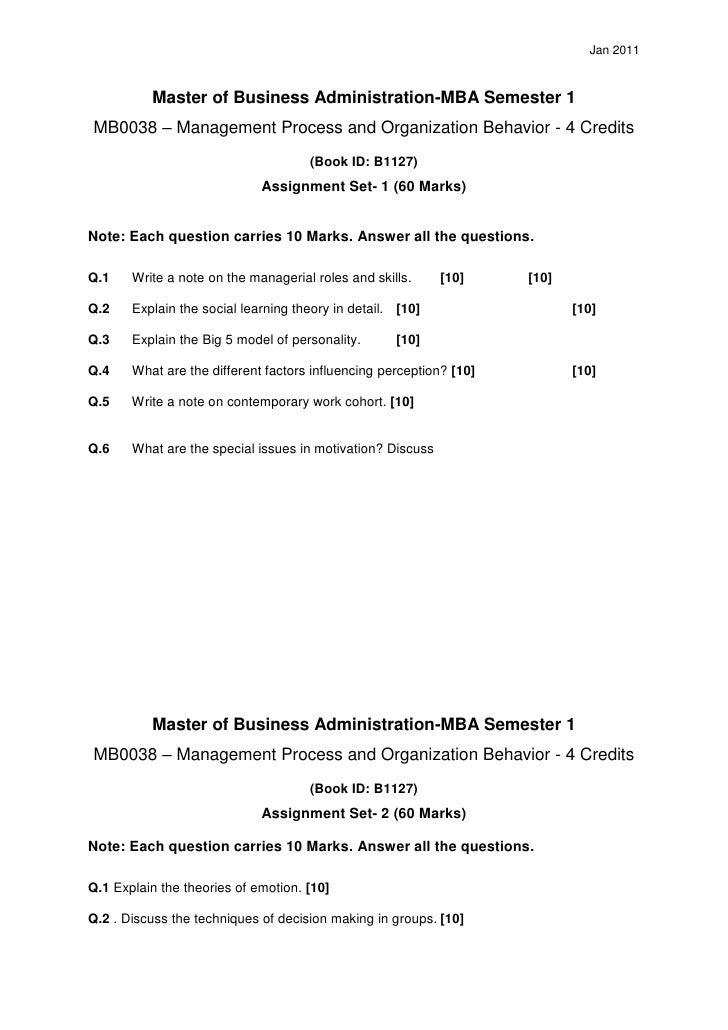 Mb0038management process and organizational behaviour
