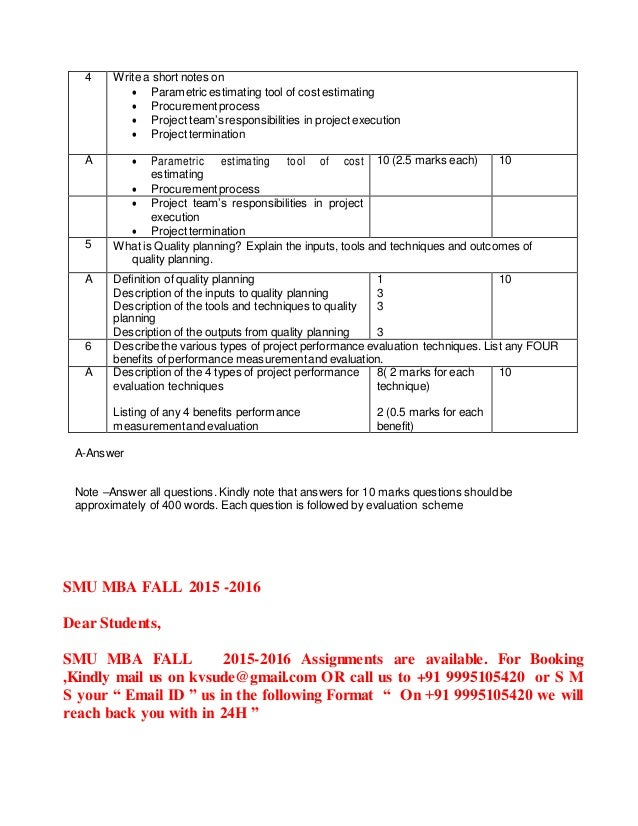 project management mb0049 Smu mba in project management solved question papers, sample papers, model papers, assignments smu mba solved assignments: mb0049 – project management.