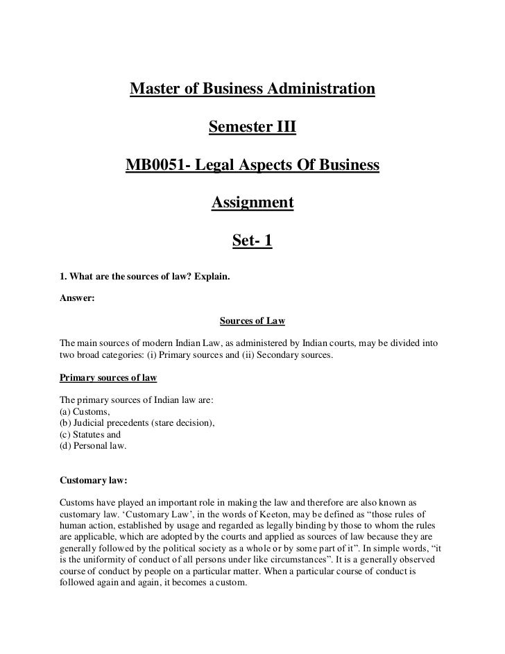 mb0051 legal aspects of business assignment1 Smu mba sem 1 -mba103 – statistics for management smu mba sem 1 -mba101– management process and organizational behaviour smu mba sem 1 -mba102 – business communication.