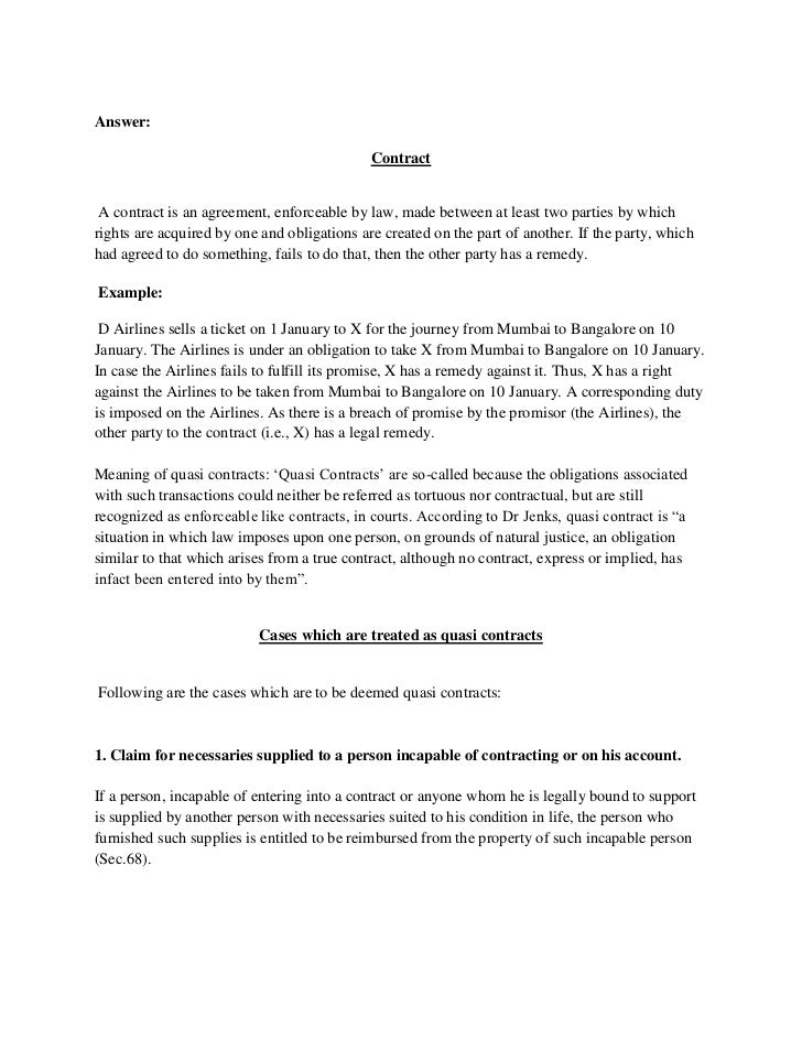 Mb0051 legal aspects of business answer – Business Contract Between Two Parties
