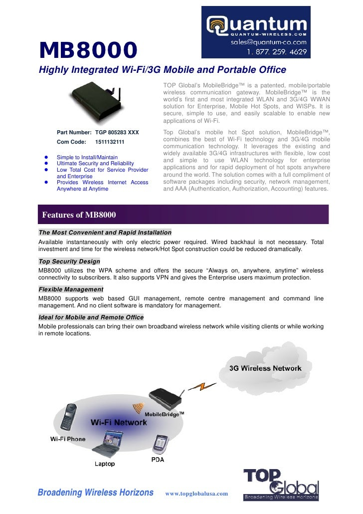 MB8000 Highly Integrated Wi-Fi/3G Mobile and Portable Office                                               TOP Global's Mo...