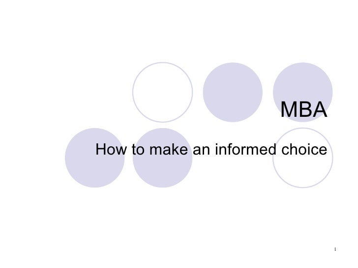 MBA How to make an informed choice