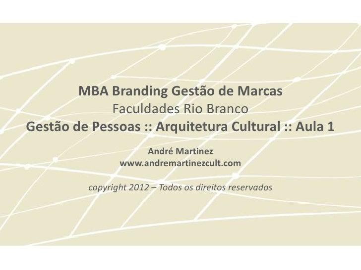 MBA Branding Gestão de Marcas             Faculdades Rio BrancoGestão de Pessoas :: Arquitetura Cultural :: Aula 1        ...