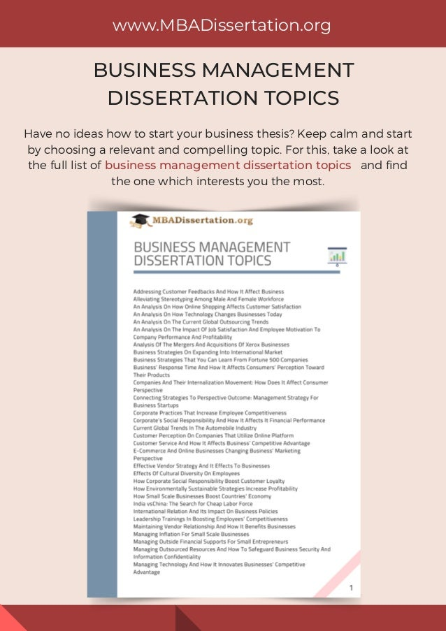 Helpful Lists of Great Business Dissertation Topics or