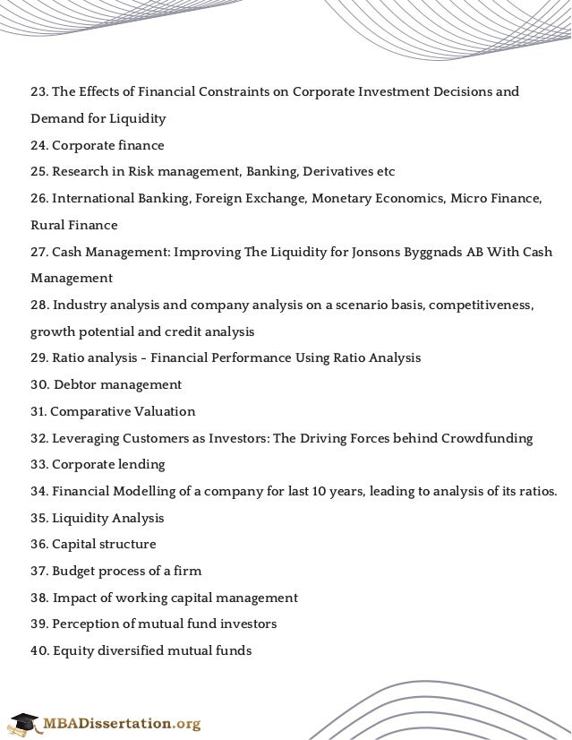 corporate finance topics research paper
