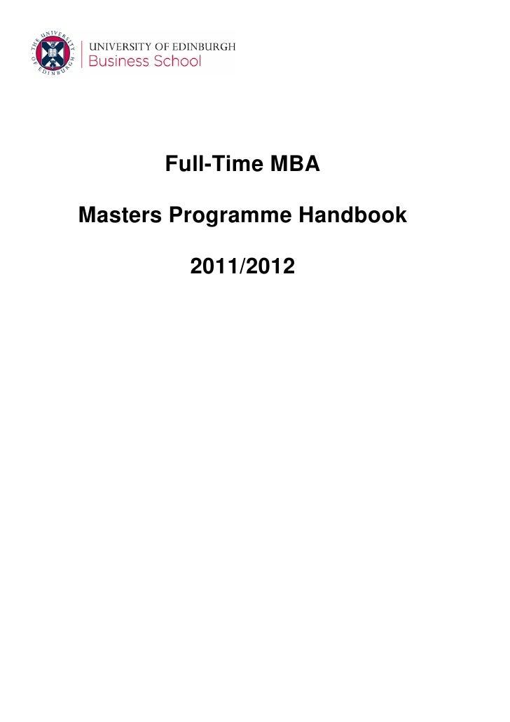 Full-Time MBAMasters Programme Handbook        2011/2012