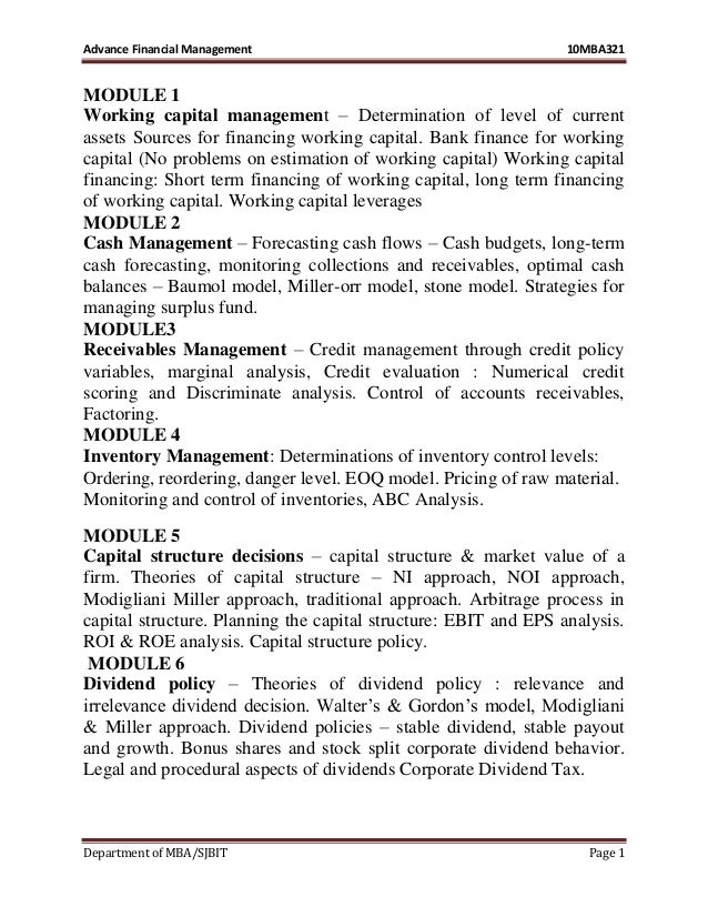 Advance Financial Management 10MBA321 Department of MBA/SJBIT Page 1 MODULE 1 Working capital management – Determination o...