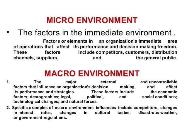 Description of the macro environment elements