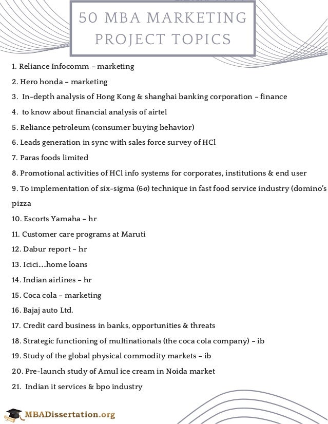 marketing related topics for mba project