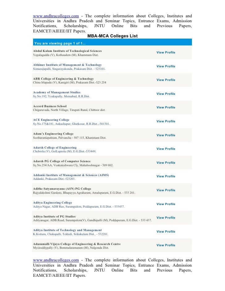 www.andhracolleges.com - The complete information about Colleges, Institutes and Universities in Andhra Pradesh and Semina...