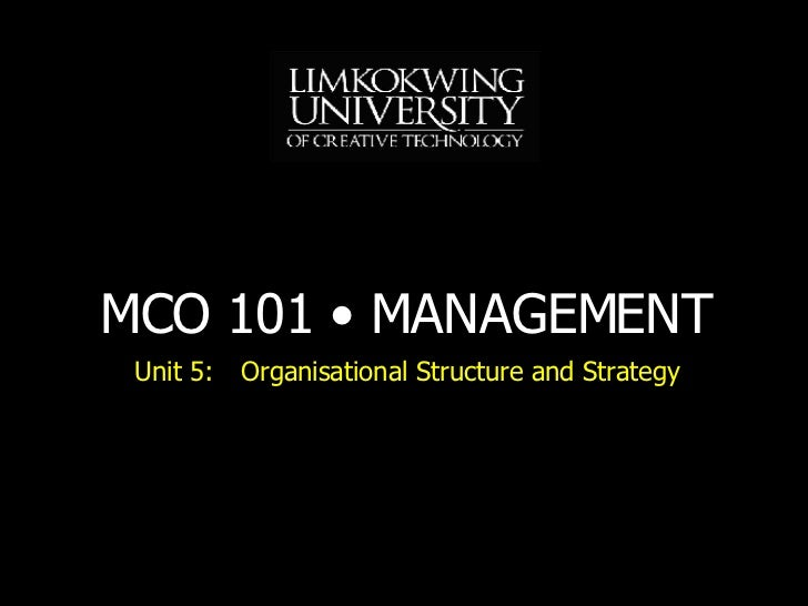 Unit 5: Organisational Structure and Strategy