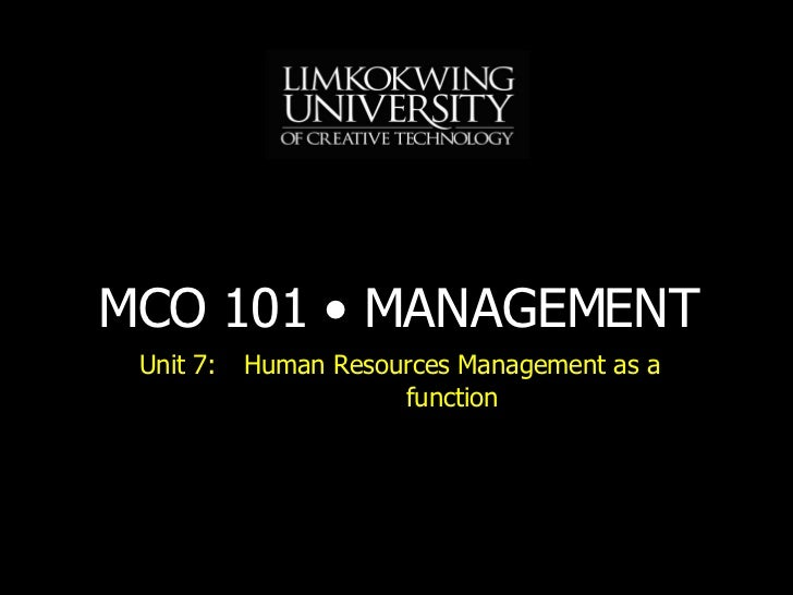 Unit 7: Human Resources Management as a function