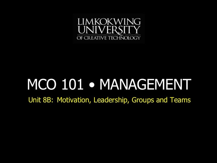 Unit 8B: Motivation, Leadership, Groups and Teams