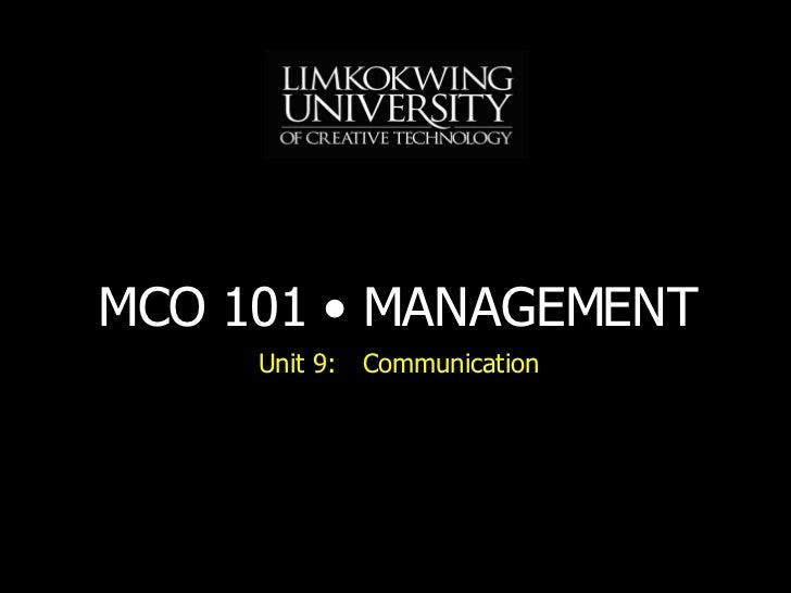 Unit 9: Communication