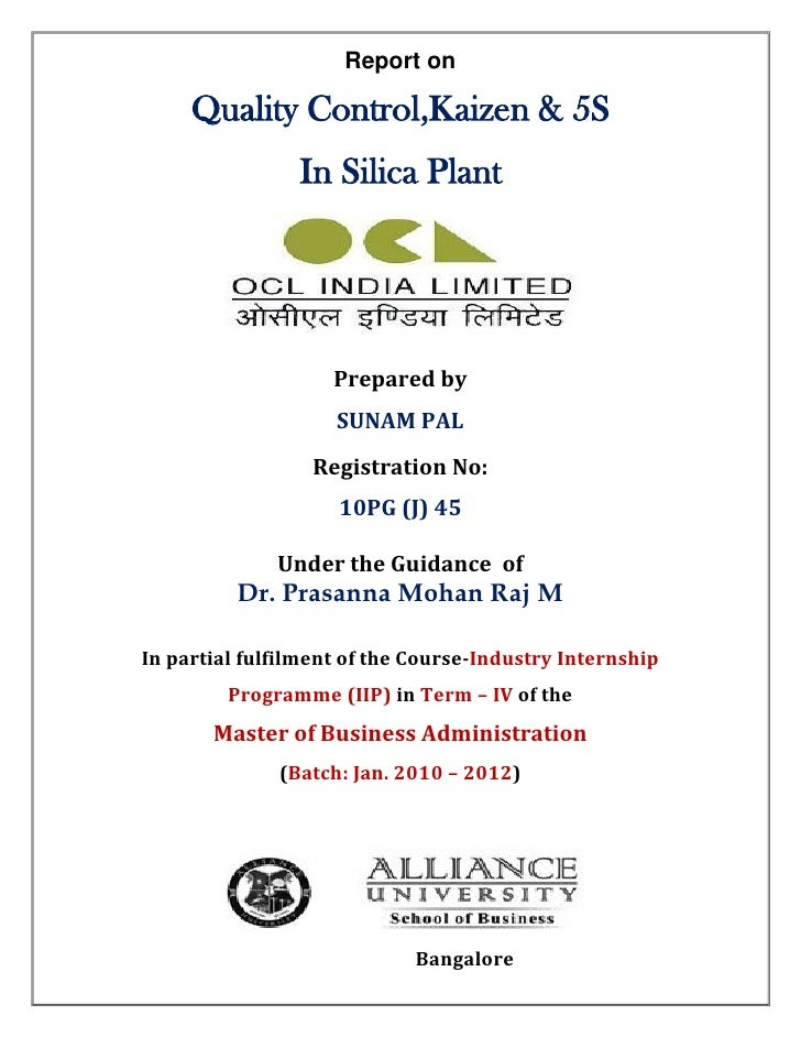 Report on     Quality Control,Kaizen & 5S                In Silica Plant                    Prepared by                   ...