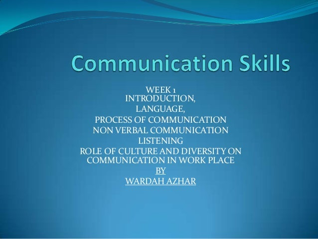 WEEK 1         INTRODUCTION,           LANGUAGE,   PROCESS OF COMMUNICATION  NON VERBAL COMMUNICATION            LISTENING...