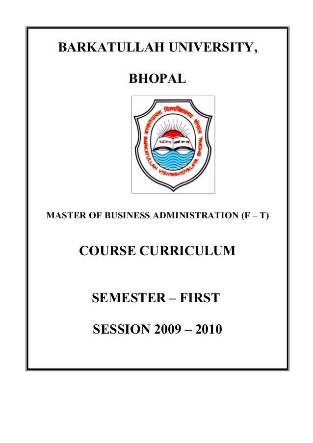 B.U.BHOPAL-MBA SYLLABUS on
