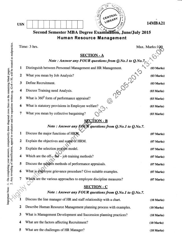 2nd Semester MBA (June-2015) Question Papers