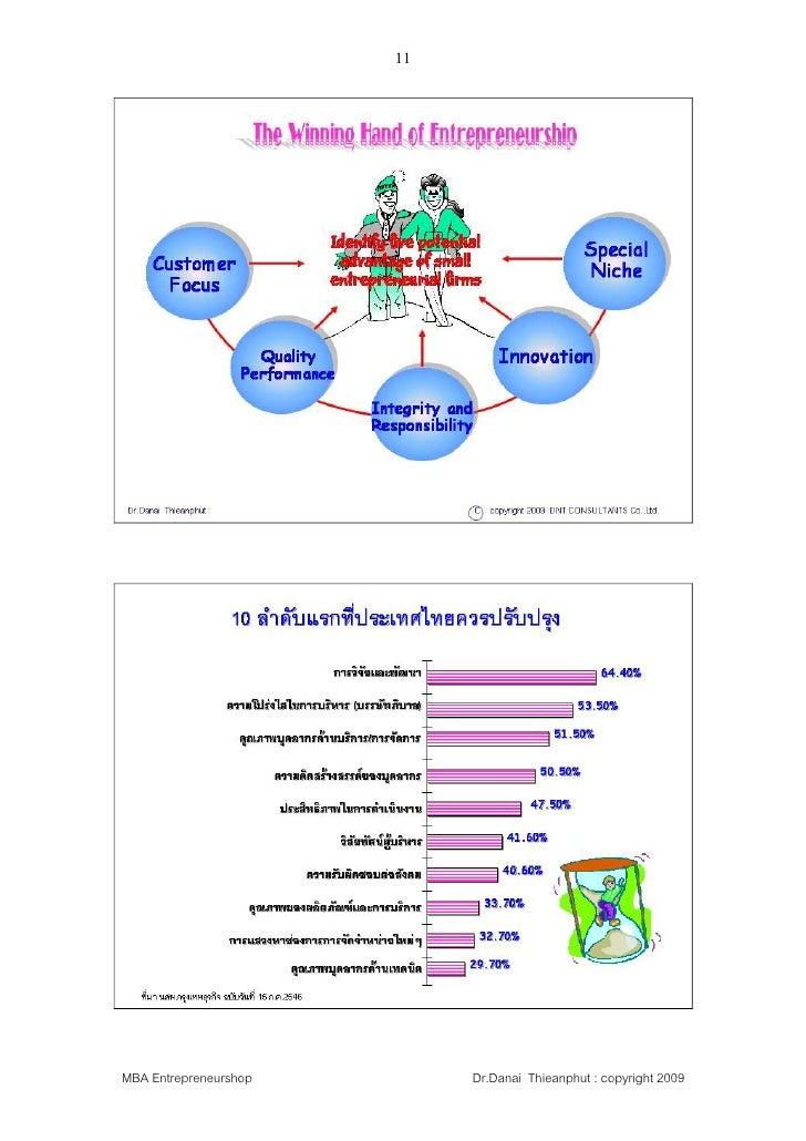 11     MBA Entrepreneurshop        Dr.Danai Thieanphut : copyright 2009