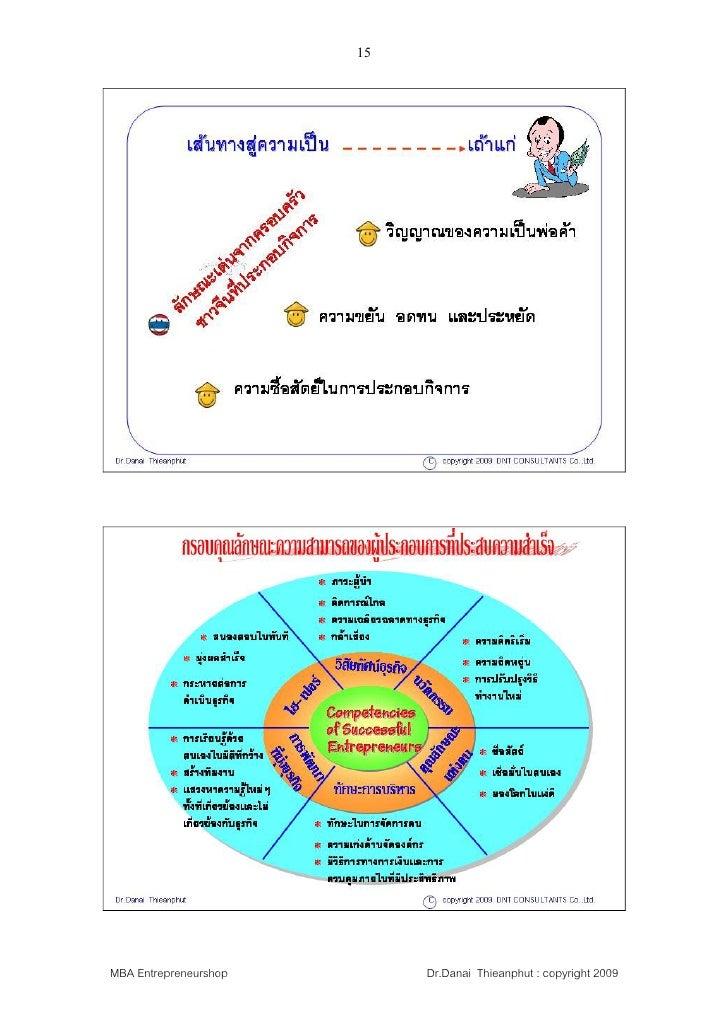 15     MBA Entrepreneurshop        Dr.Danai Thieanphut : copyright 2009