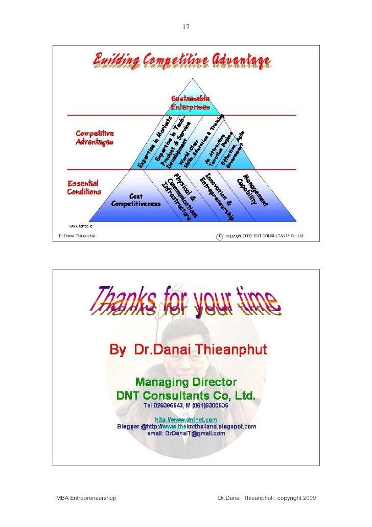 17     MBA Entrepreneurshop        Dr.Danai Thieanphut : copyright 2009