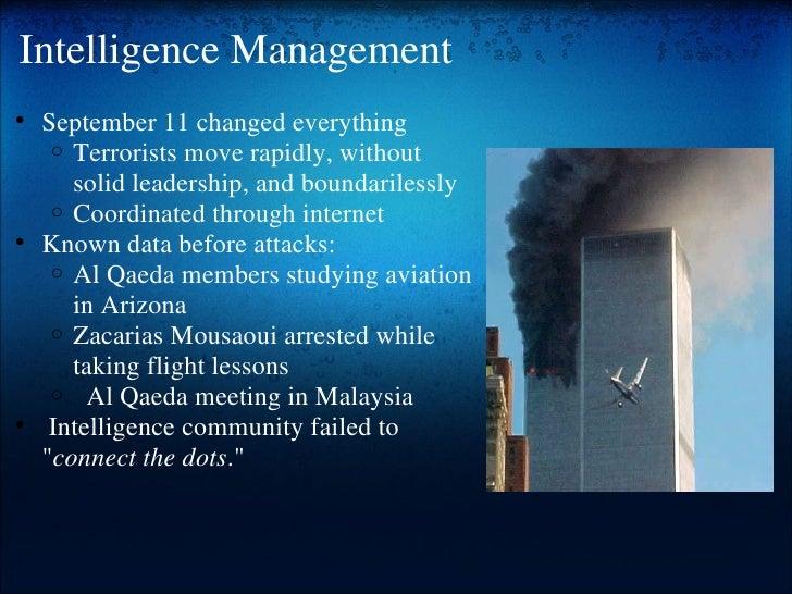 Intelligence Management <ul><ul><li>September 11 changed everything </li></ul></ul><ul><ul><ul><li>Terrorists move rapidly...