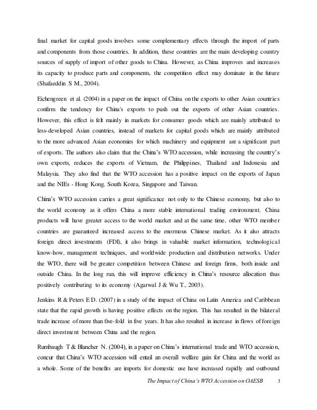 the impact of the wto on While the wto is likely to argue that it encourages such agreements when they do not have a negative impact on third parties, it is very difficult to find cases where third-party countries are not, at least indirectly, negatively affected by a specific bilateral agreement.