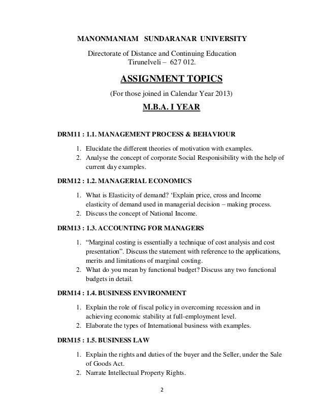 Mba assignment topics 2013