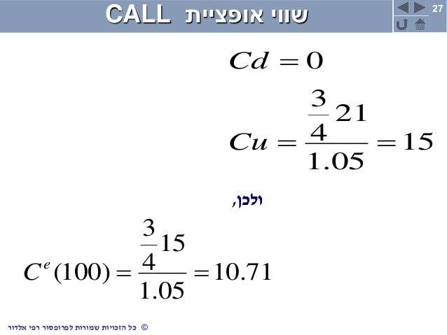 27 ©כלשמורות הזכויותרפי לפרופסוראלדור אופציית שוויCALL 15 05.1 21 4 3 0   Cu Cd ולכן, 71.10 05.1 15 4...