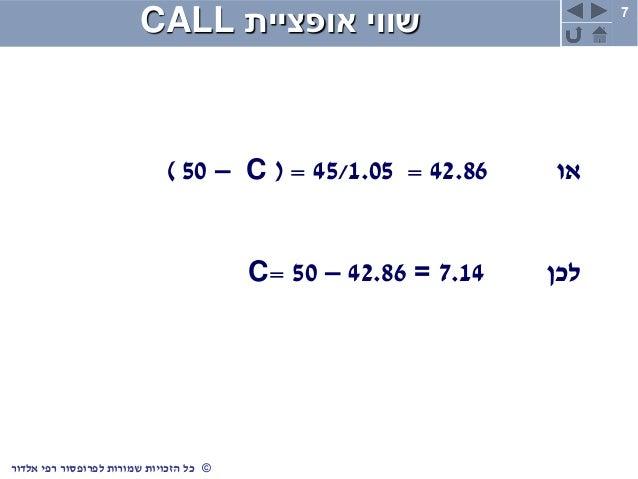 7 ©כלשמורות הזכויותרפי לפרופסוראלדור אופציית שוויCALL או42.86=45/1.05( =C–50) לכן7.14=42.86–50=C